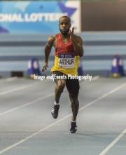11.02.2017. EIS, Sheffield, England. The British Athletics Indoor team trials 2017. Reuben Arthur (Enfield & Haringey H) finishes second in heat 6 of the Mens 60 Meters.