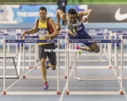 11.02.2017. EIS, Sheffield, England. The British Athletics Indoor team trials 2017. David Omoregie (Cardiff AAC) winning heat 1 of the Mens 60 Meter hurdles. Also shown Andy Blow (Basingstoke MH)