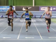 11.02.2017. EIS, Sheffield, England. The British Athletics Indoor team trials 2017. Imranur Rahman, Emmanuel Stephens and Oliver Bromby compete in the Mens 60 Meter semi-final.