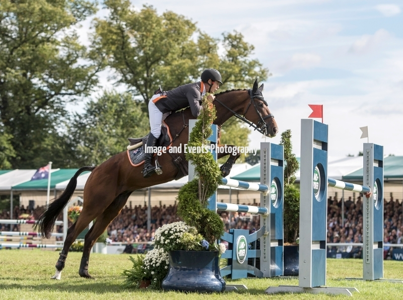 04.09.2016. Burghley House, Burghley, England. Land Rover Burghley Horse Trials. Show Jumping. NOBILIS 18 (AUS) ridden by Christopher Burton on their way to wining the 2016 Land rover Burghley Horse Trials.