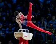 23.03.2019. Resorts World Arena, Birmingham, England. The Gymnastics World Cup 2019Jamie LEWIS (GBR)  in the Mens Pommel Competition