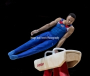 23.03.2019. Resorts World Arena, Birmingham, England. The Gymnastics World Cup 2019Joe Fraser (GBR) in the Mens Pommel